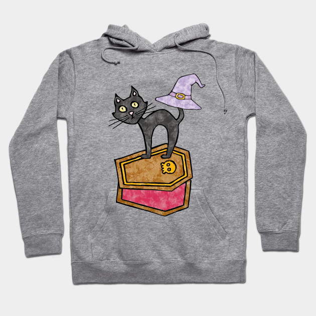 Fun Halloween Black Cat with Halloween Casket Hoodie