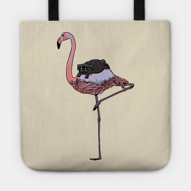 Flamingo and Black Pug