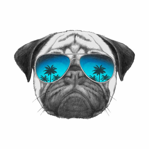 8efe90329c950 Pug Dog with sunglasses - Pug - T-Shirt
