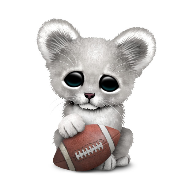 White Lion Cub Playing With Football