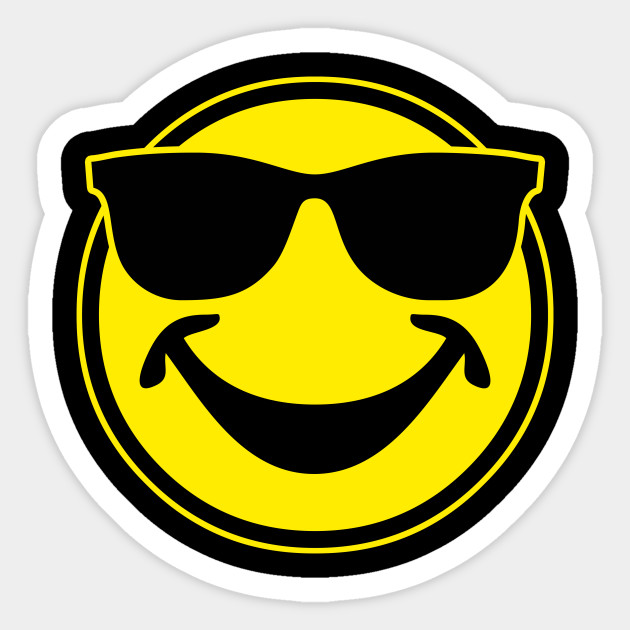 784adc82d41f COOL yellow SMILEY BRO with sunglasses - Smile - Sticker | TeePublic