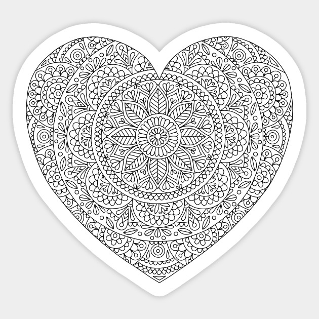 Mandala Heart With Flowers And Leaves For Adult Coloring Mandala