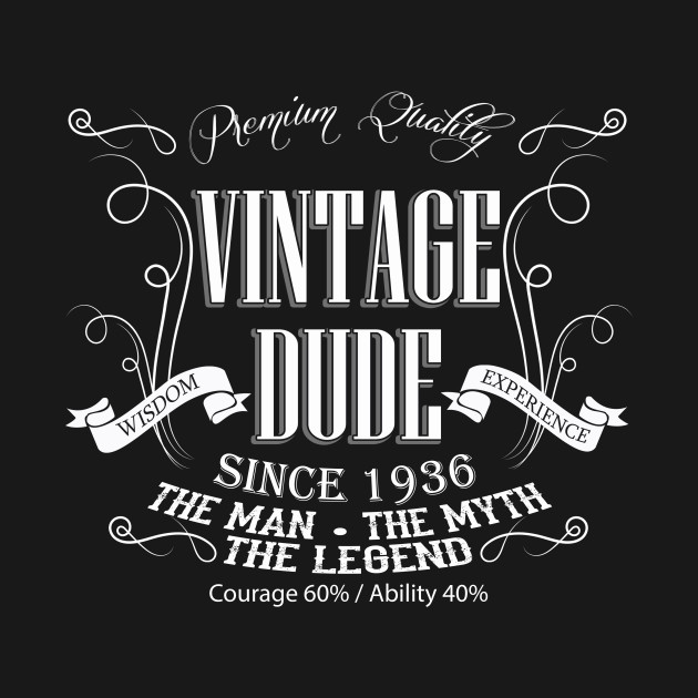 Vintage Dude 80 Since 1936 80th Birthday Gift For Men