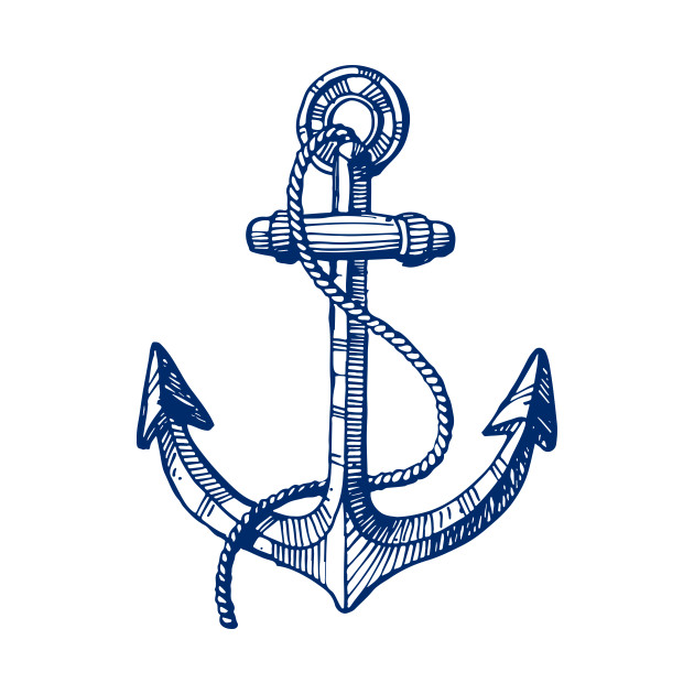 Line Drawing Anchor : Navy blue nautical boat anchor illustration simple t