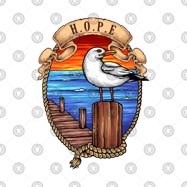 Hope: Nautical Rope and Dock with Seagull Design