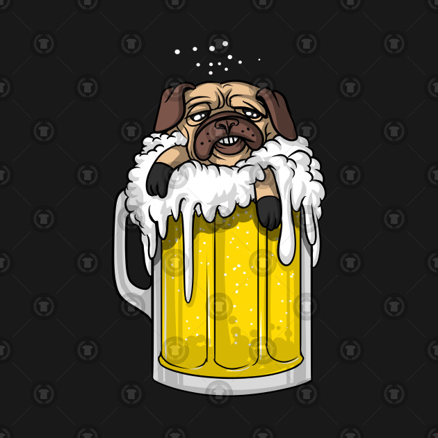 Funny Pug Dog Drinking Mug Of Beer Pet