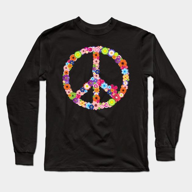 a1aca5fd2bf03 Hippie Peace Sign T-shirt Flower Vintage Hippy Symbol Tee Long Sleeve T- Shirt
