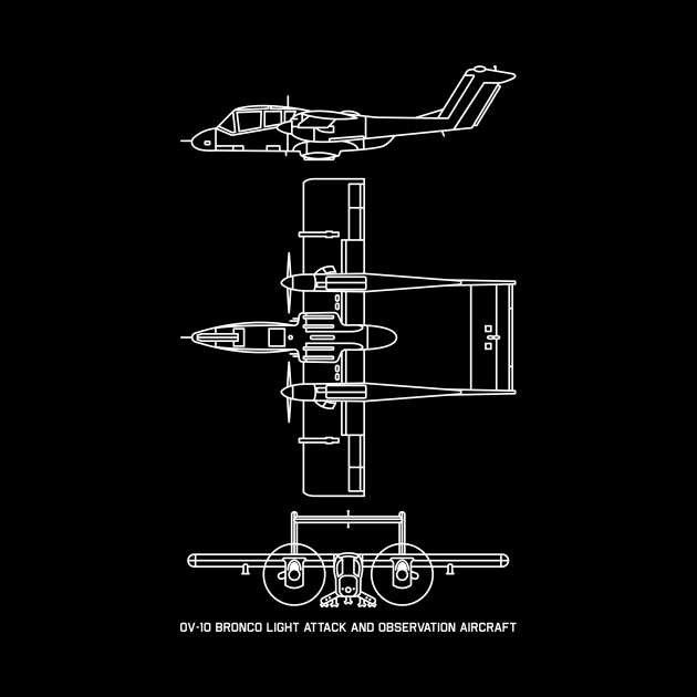 North American Rockwell OV-10 Bronco US Airforce Navy Military Plane Blueprint Gift
