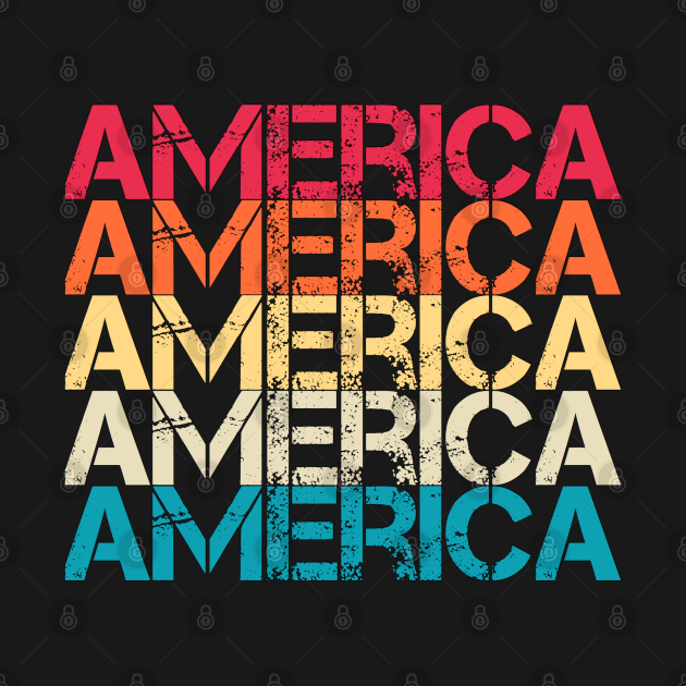 America Retro Vintage Distressed Repeated Text Gift