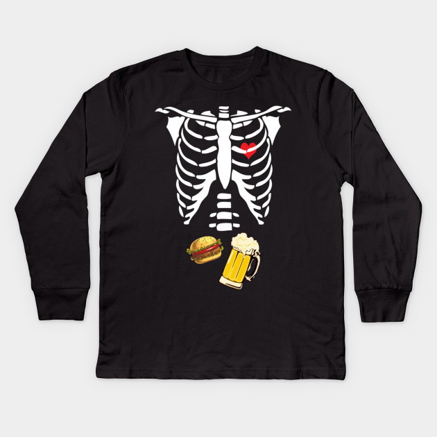 788f52c501805 Beer Hamburger Skeleton Tee Pregnancy Costume Halloween Kids Long Sleeve T- Shirt