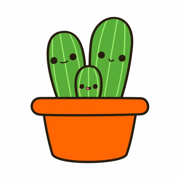 Cute cactus in orange pot