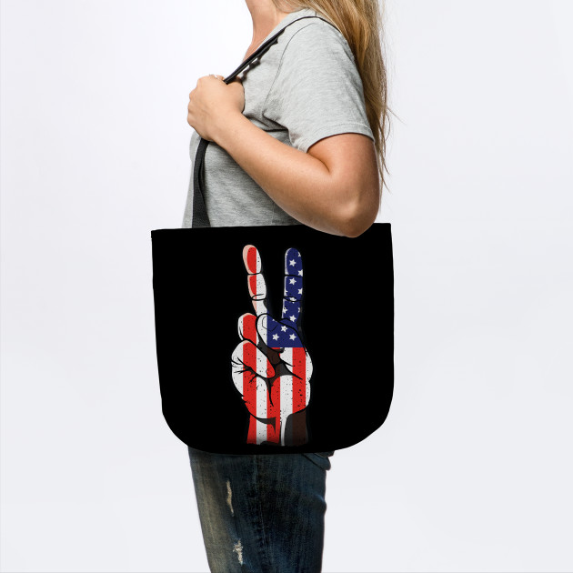 Peace Hand Sign & USA 4th of July as Her or Him Outfit
