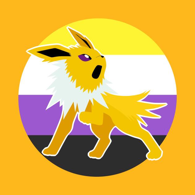 367d7de2 Jolteon Nonbinary Pride LGBT - Pokemon - T-Shirt   TeePublic