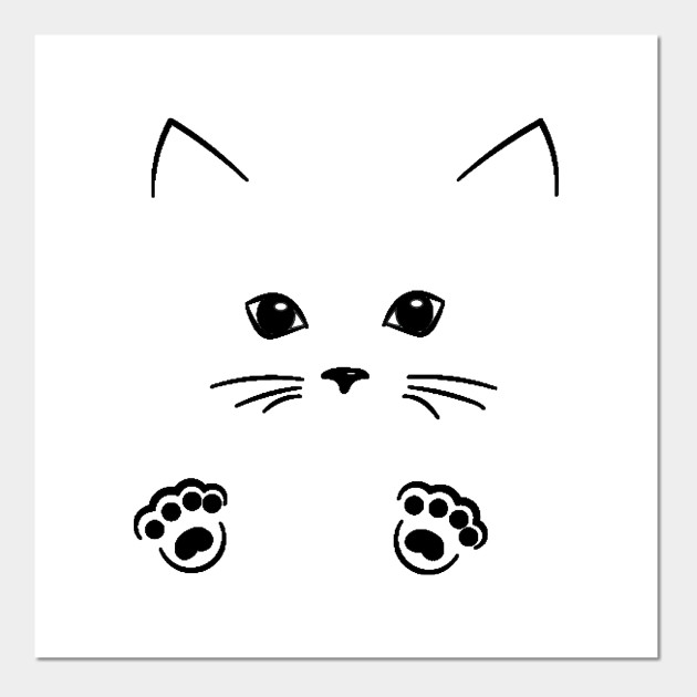 Outline Cat Face Drawing Cat Draw Posters And Art Prints