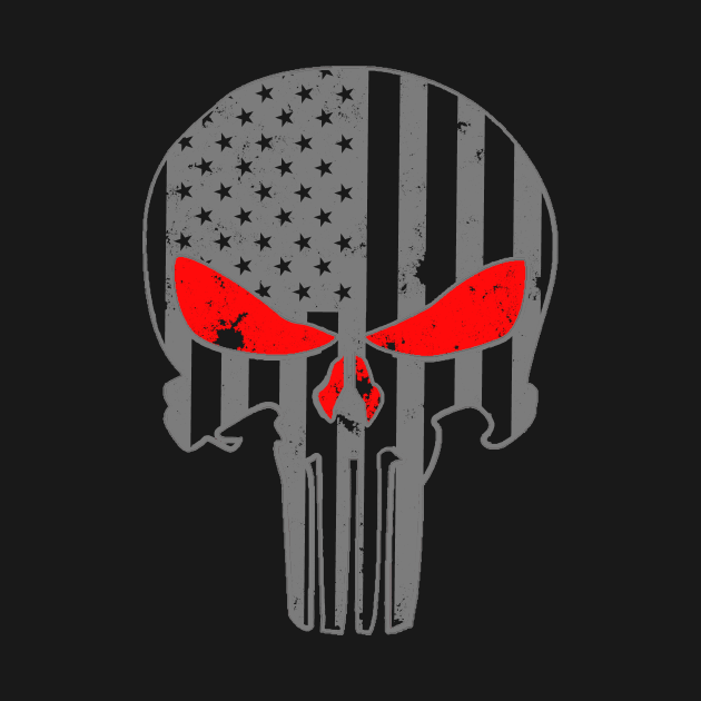 USA Military American Gray Flag Skull With Red Eyes Patriotic
