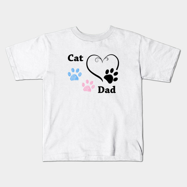 Cat Dad. Pink and blue paw print with hearts