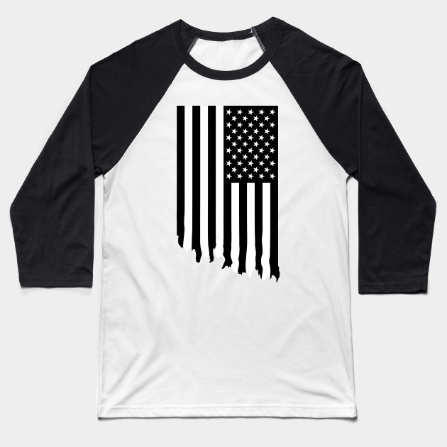 5d1be8417f0 Black And White American Flag Dripping America Baseball T. Chrome Hearts  Short Sleeve T Shirt V53 Usa ...