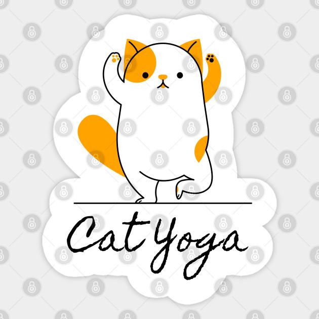 Funny Yoga Poses Beautiful Yoga Cat Gift For Yoga Lovers Cat Yoga Sticker Teepublic