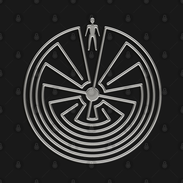 MAN IN THE MAZE - metal SILVER style Symbol