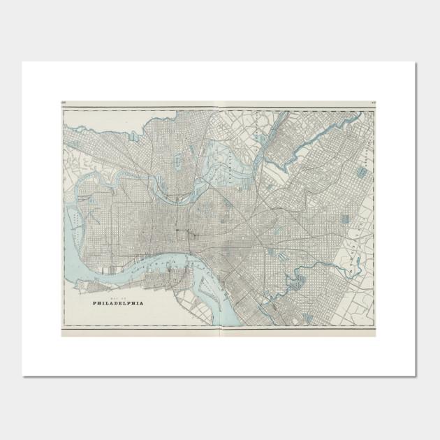 Vintage Map of Philadelphia PA (1901)