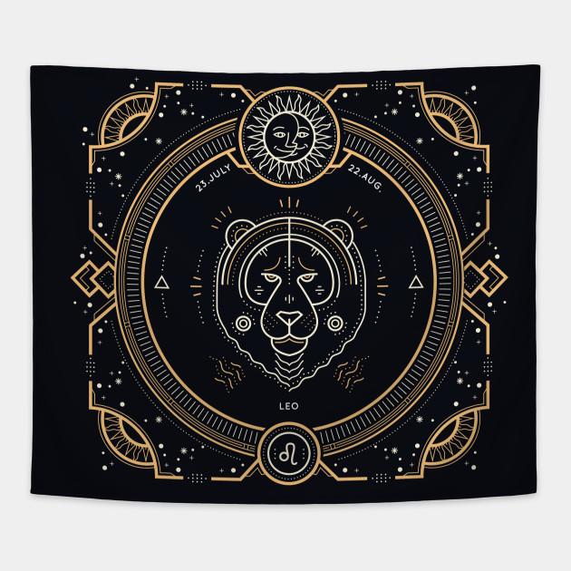 Leo Zodiac Gold White with Black Background