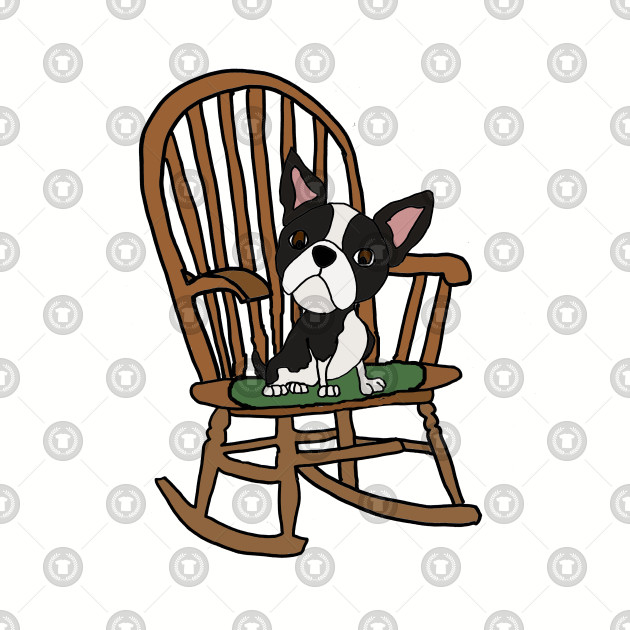 Marvelous Cute Fun Boston Terrier Dog In Rocking Chair Squirreltailoven Fun Painted Chair Ideas Images Squirreltailovenorg