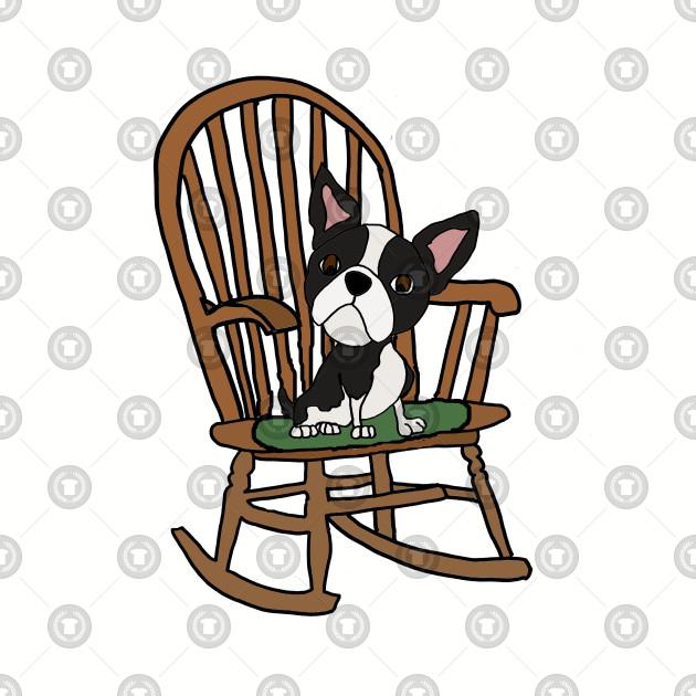 Admirable Cute Fun Boston Terrier Dog In Rocking Chair Frankydiablos Diy Chair Ideas Frankydiabloscom