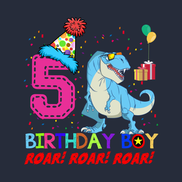Funny Dinosaurs 5 Years Old Birthday Kids Gift