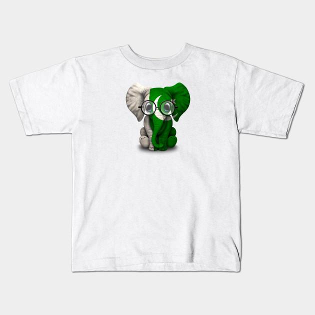 fa3e4343 Baby Elephant with Glasses and Pakistani Flag - Pakistan - Kids T ...