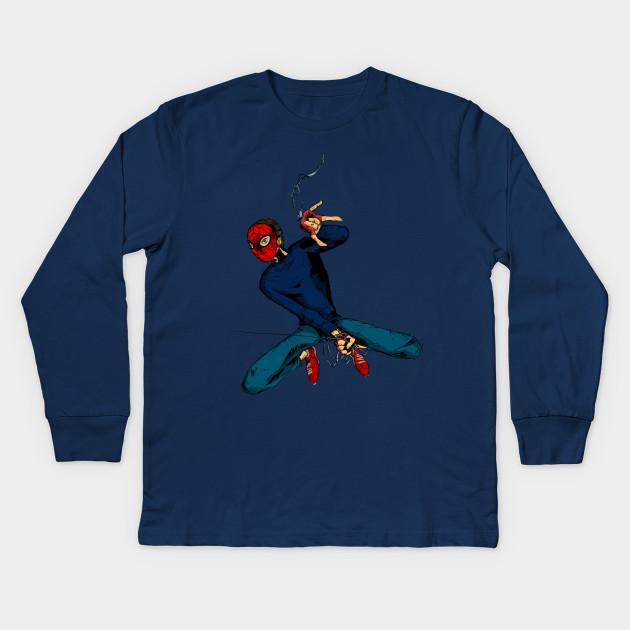 545a7d75 DIY suit Spidey - Spider Man - Kids Long Sleeve T-Shirt | TeePublic