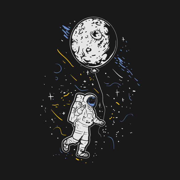 astronaut with moon balloon galaxy spaceship space astronaut t