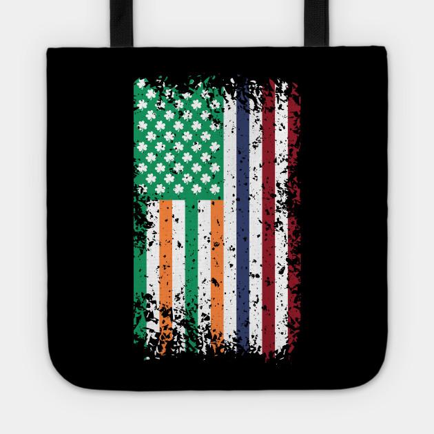 Irish American Flag & Shamrock Leaves