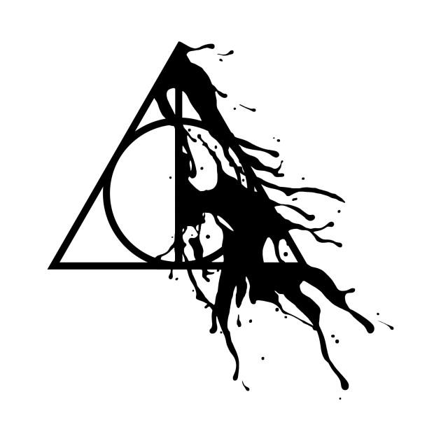 Harry Potter Deathly Hallows Half Paint Splashes Black