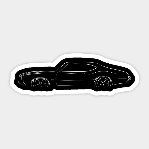 ff355b24 1970 Oldsmobile 442 - profile stencil, white - 442 - Sticker | TeePublic