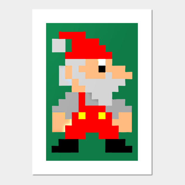 SANTA CLAUS 8 BIT - Santa Claus - Posters and Art Prints   TeePublic UK