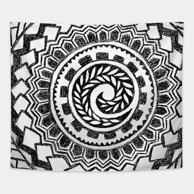 tribal polynesian tattoo mandala polynesian tapestry teepublic. Black Bedroom Furniture Sets. Home Design Ideas