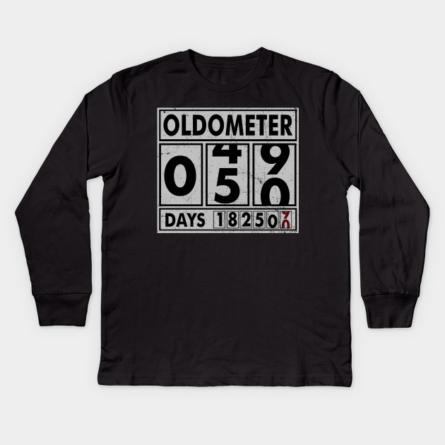 4391e768 OLDOMETER 50 Years Old Made In 1968 50th Birthday Kids Long Sleeve T-Shirt