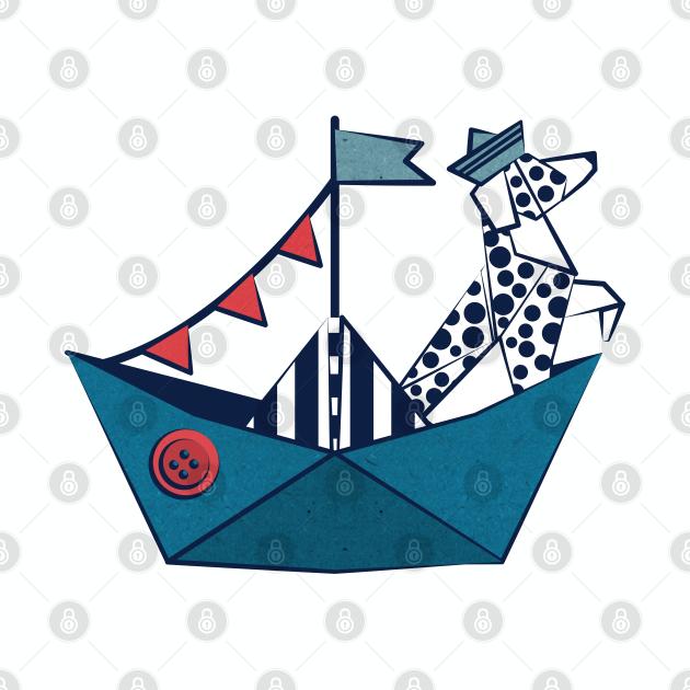 Origami Dalmatian dog day at the lake // print // teal sail boat