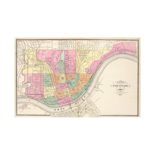 Vintage Map of Cincinnati OH (1872) - Cincinnati Map - T-Shirt ... on