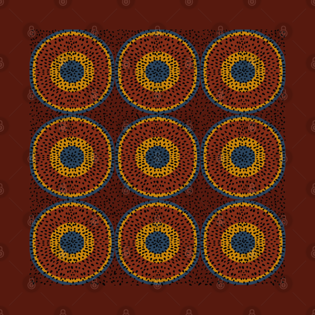 African decorative red circles pattern