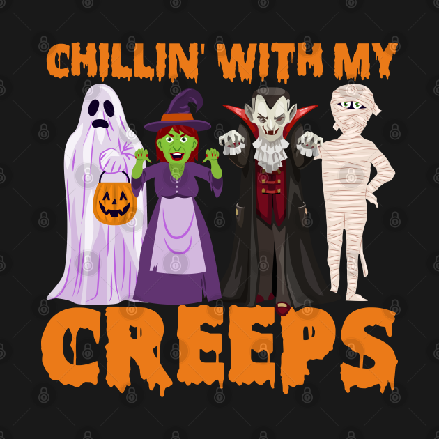 Chillin' With My Creeps Halloween Scary Monsters Costume