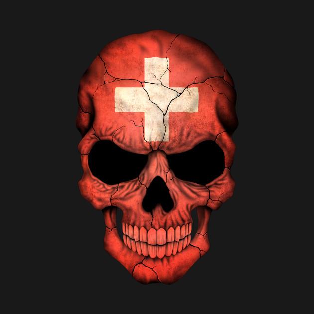 swiss flag skull switzerland t shirt teepublic