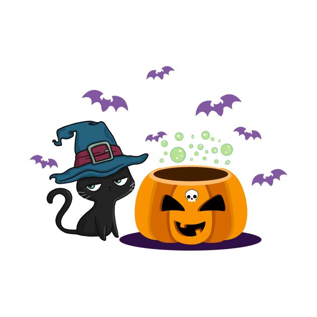 Wicked black cat with pumpkin in Halloween