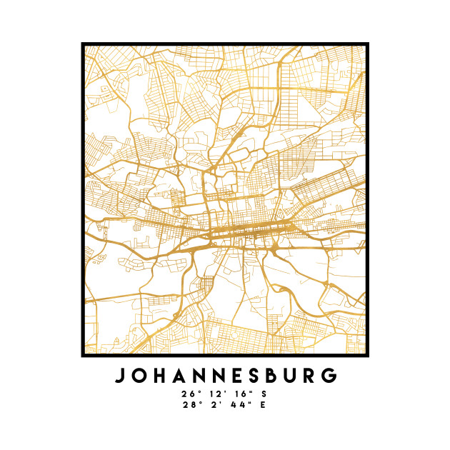 JOHANNESBURG SOUTH AFRICA CITY STREET MAP ART Johannesburg T