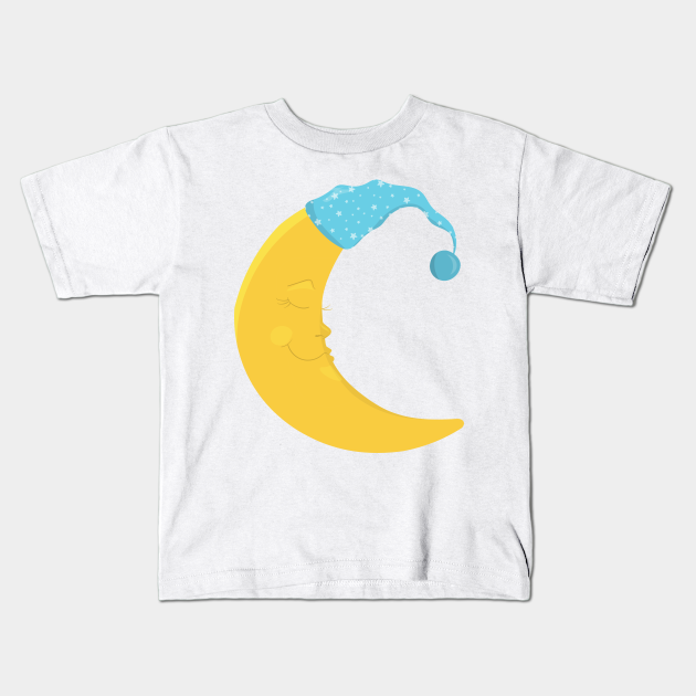 Yellow Moon With Blue Nightcap, Sleeping Moon