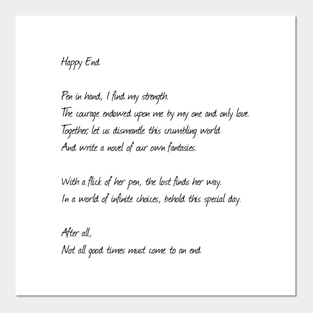 Happy End Full Poem Black Text