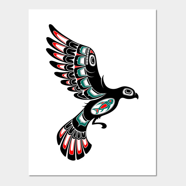 red and green haida spirit flying bird haida art wall