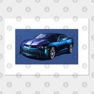 2016 Chevrolet Camaro ss blue 24X36 inch poster sports car