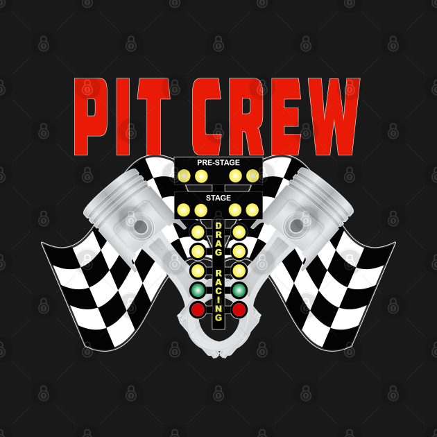 Pit Crew with Racing Flag Racing Tree and Pistons