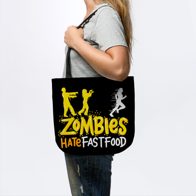 Zombies Hate Fast Food Funny T-Shirt Gym Run Away Meal
